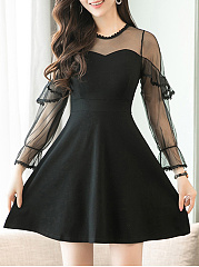Round Neck  Flounce Patchwork  Plain Skater Dress