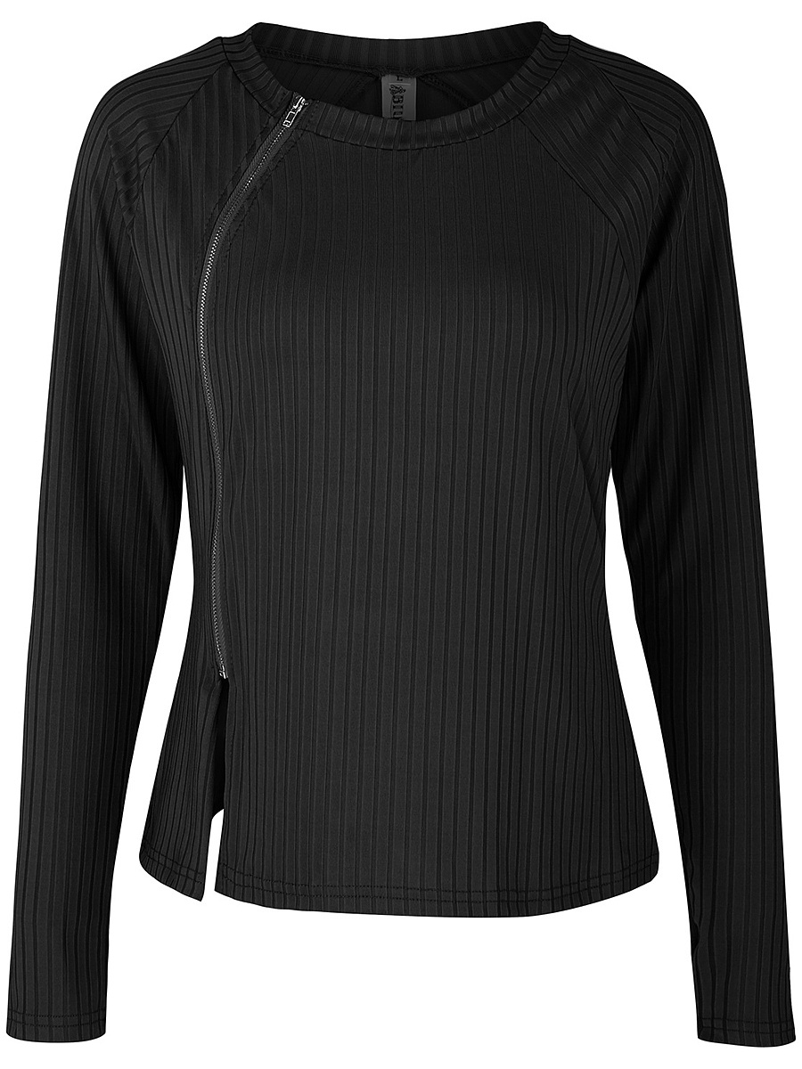 Round Neck Vented Zips Plain Long Sleeve T-Shirt