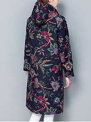 Hooded Tribal Printed Patch Pocket Long Padded Coat