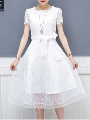 Round Neck  Bowknot Patchwork  Hollow Out Skater Dress