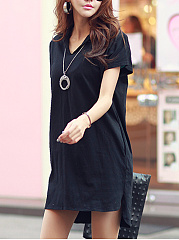 Fold-Over Collar  Plain Shift Dress