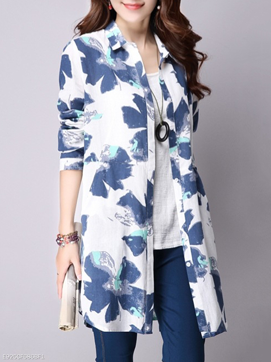 Turn Down Collar  Printed  Long Sleeve Trench Coats