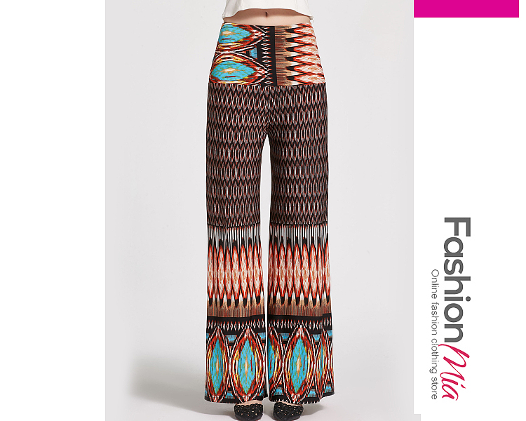 Image of Absorbing Tribal Printed Wide-Leg Casual Pants