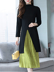 Crew Neck  Slit  Color Block Two-Piece Maxi Dress
