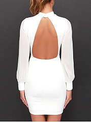Band Collar  Patchwork See-Through  Back Hole  Plain  Polyester Bodycon Dress