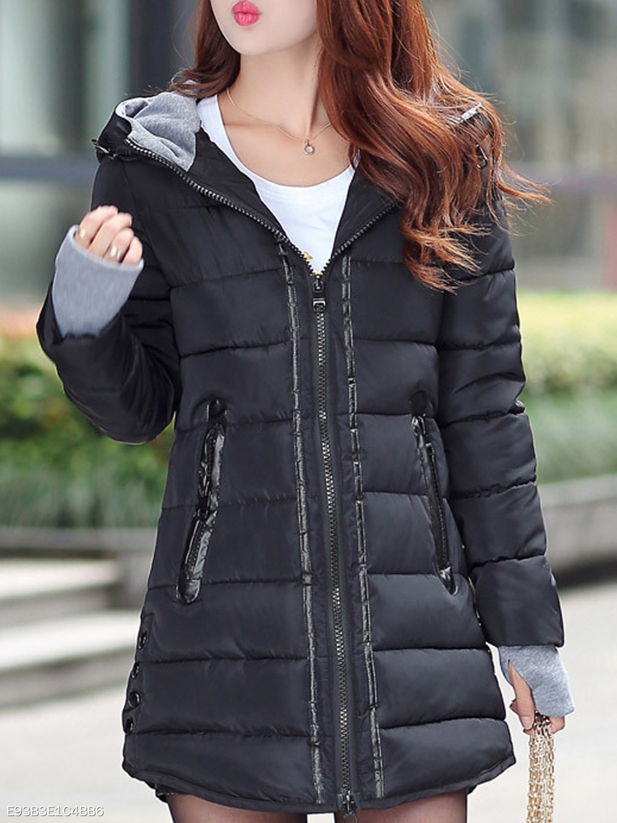 Hooded  Zips  Decorative Button  Long Sleeve Coats