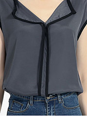 Summer  Chiffon  Women  Fold-Over Collar  Contrast Piping  Plain  Sleeveless Blouses