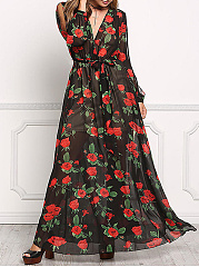 Flowy V-Neck Floral Printed Hollow Out Chiffon Maxi Dress