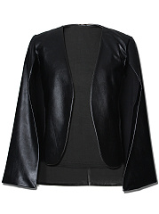 Black-Collarless-PU-Leather-Cape