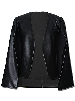 Black Collarless PU Leather Cape