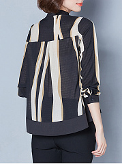 Band Collar Asymmetric Stripe High-Low Blouse