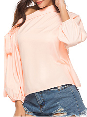 Autumn Spring  Polyester  Women  Open Shoulder  Plain  Puff Sleeve  Long Sleeve Blouses