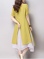 Round Neck  Fake Two-Piece  Plain Shift Dress
