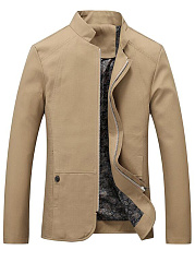 Men Band Collar Solid Pocket Jacket