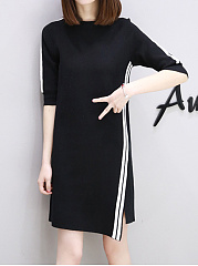 Round Neck  Asymmetric Hem  Color Block Shift Dress