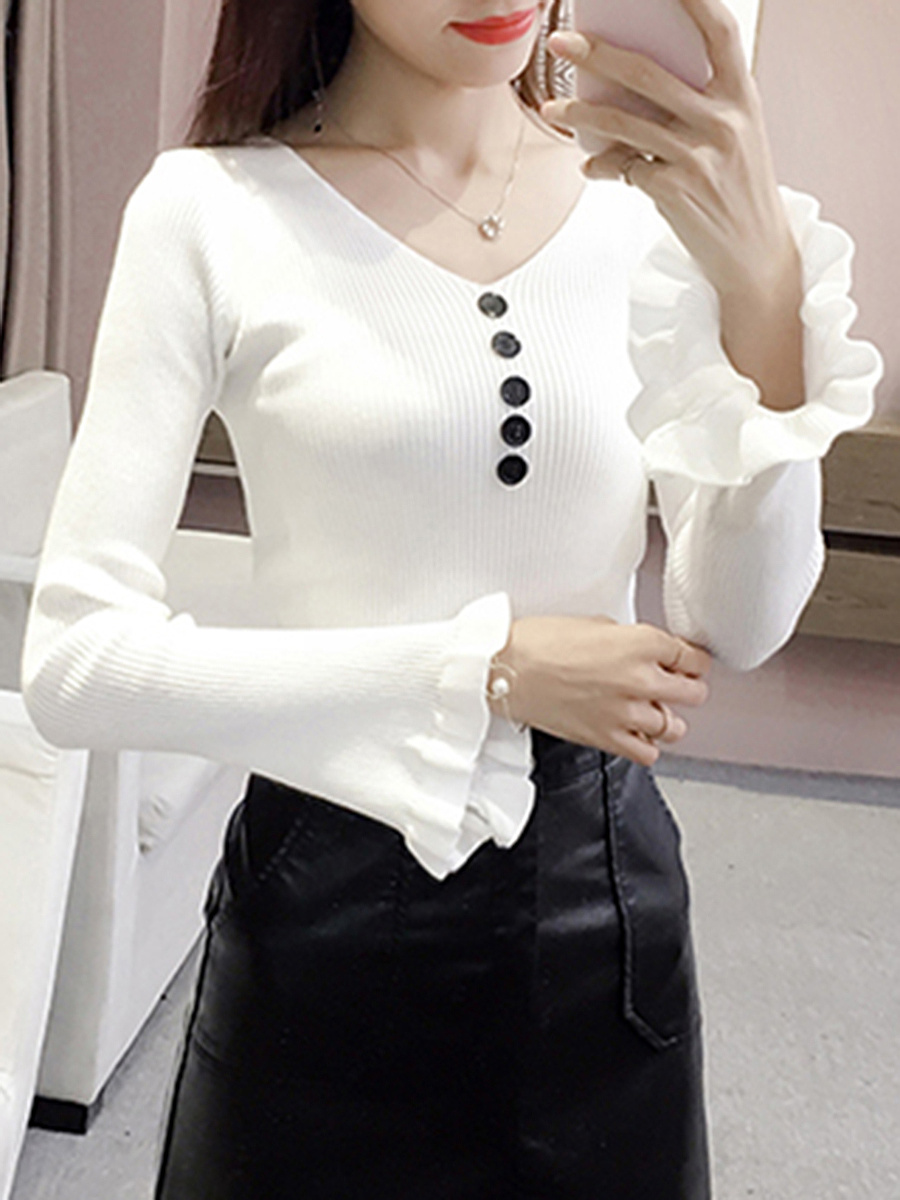 V-Neck  Decorative Button  Plain  Bell Sleeve Sweater