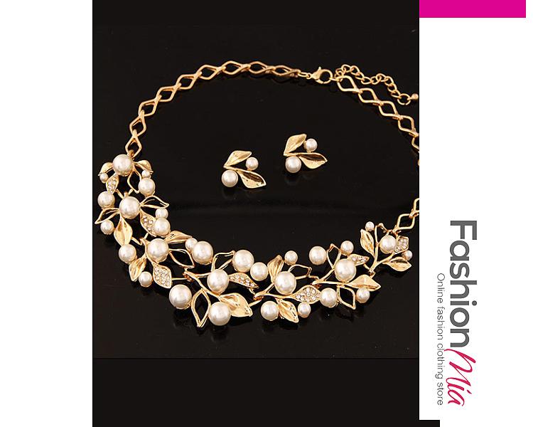 Image of Alloy Inlaid With Imitation Rhinestone Beads Necklace