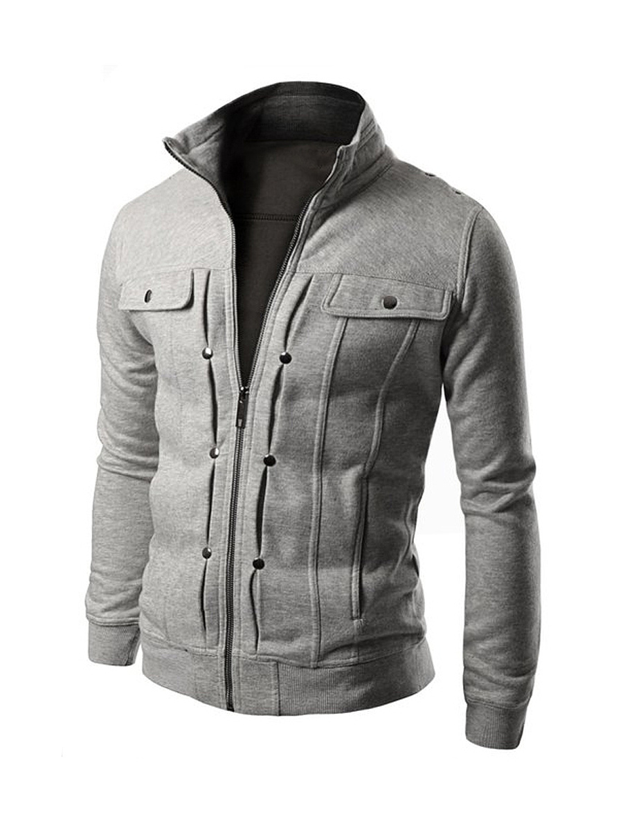 Flap Pocket Band Collar Men Jacket