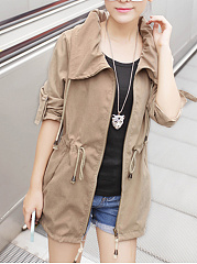 Lapel Drawstring Plain Roll-Up Sleeve Trench Coat
