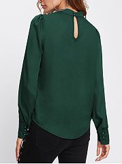 Autumn Spring  Cotton  Women  High Neck  Decorative Button  Plain  Long Sleeve Blouses