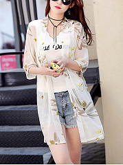 Excellent Collarless See-Through Floral Kimono