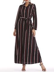Turn Down Collar  Belt  Striped Maxi Dress
