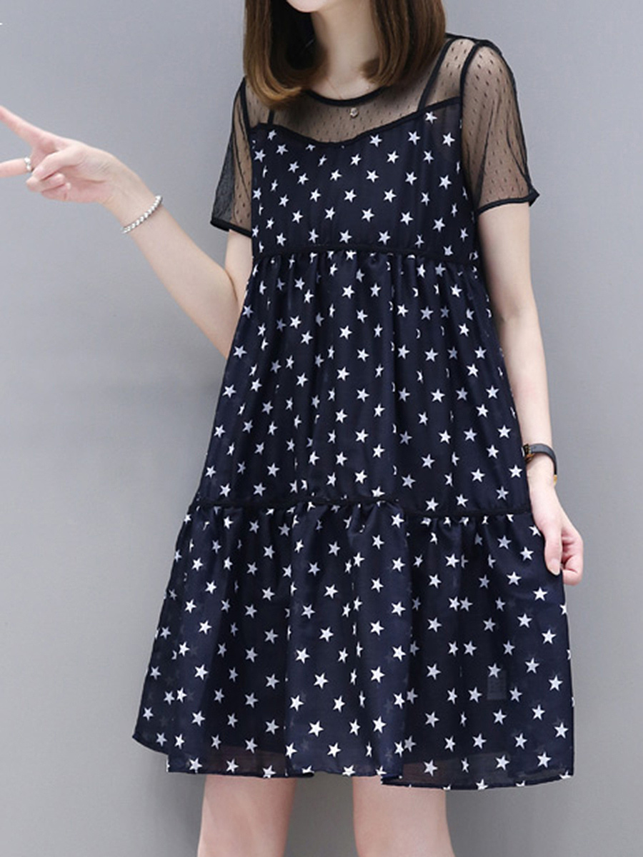 Round Neck  See-Through  Printed Shift Dress