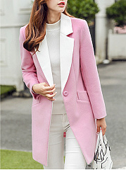 Lapel Pocket Single Button Woolen Coat