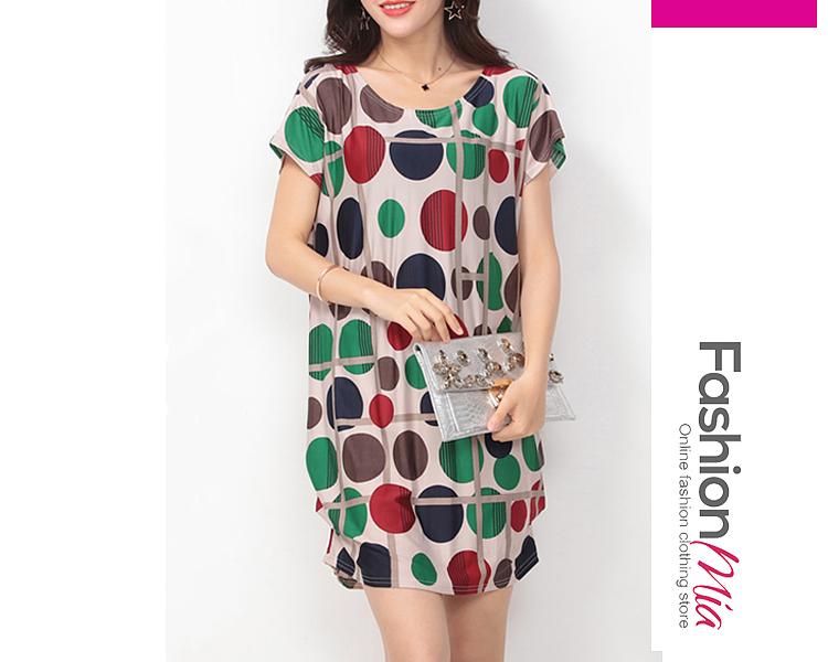 Image of Color Block Polka Dot Round Neck Shift Dress