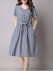 Drawstring  Plaid  Cotton/Linen Skater Dresses