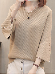 Autumn Spring Winter  Knit  Women  Sweet Heart  Beads  Plain  Bell Sleeve  Long Sleeve Pullover