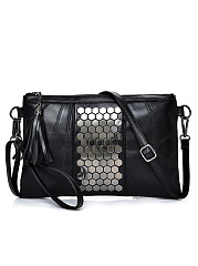 Mature Stylish All Black Beading Fringe Zipper Decoration Clutches