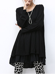 Casual Plain Ruffled Hem Bowknot Shift Dress