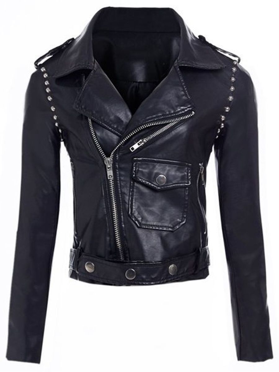 With Rivet Trendy Lapel Black Jackets