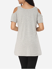 Geometric Hollow Out Letter Printed Modern Round Neck Short-sleeve-t-shirt