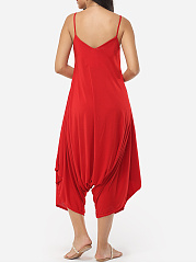 Plain Loose Fitting Designed Jumpsuits