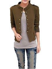 Breasted-Stylish-Band-Collar-Jackets