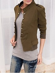 Breasted Stylish Band Collar Jackets