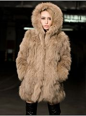 Faux Fur With Pockets Comfortable Hooded Overcoat
