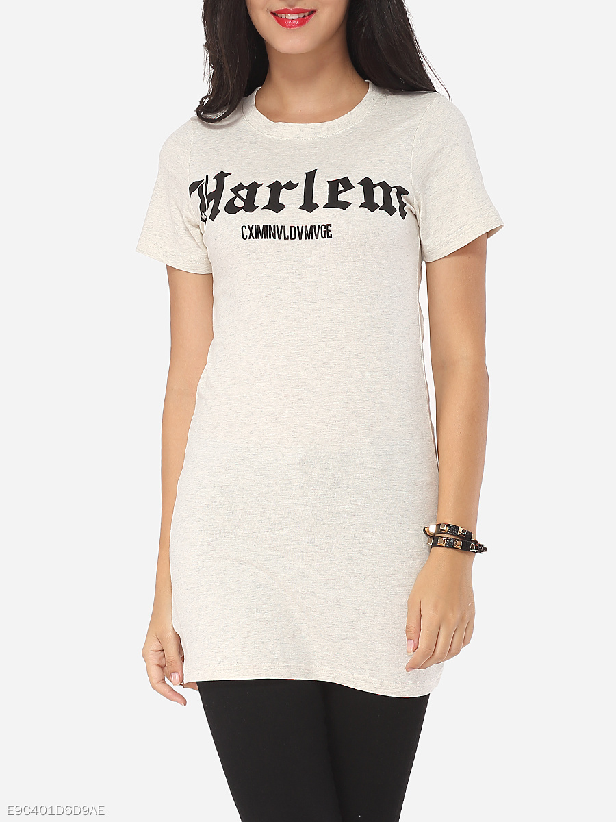 Letter Printed Modern Round Neck Short-sleeve-t-shirt