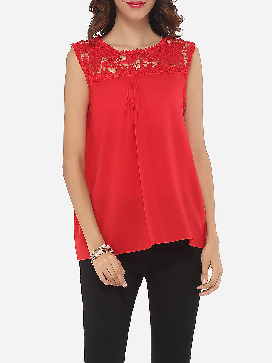 Hollow Out Lace Patchwork Plain Captivating Crew Neck Blouse