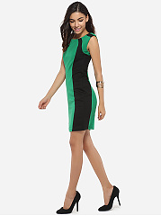 Boat Neck Dacron Color Block Bodycon-dress