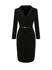 Lapel  Belt Solid Bodycon Dress In Black