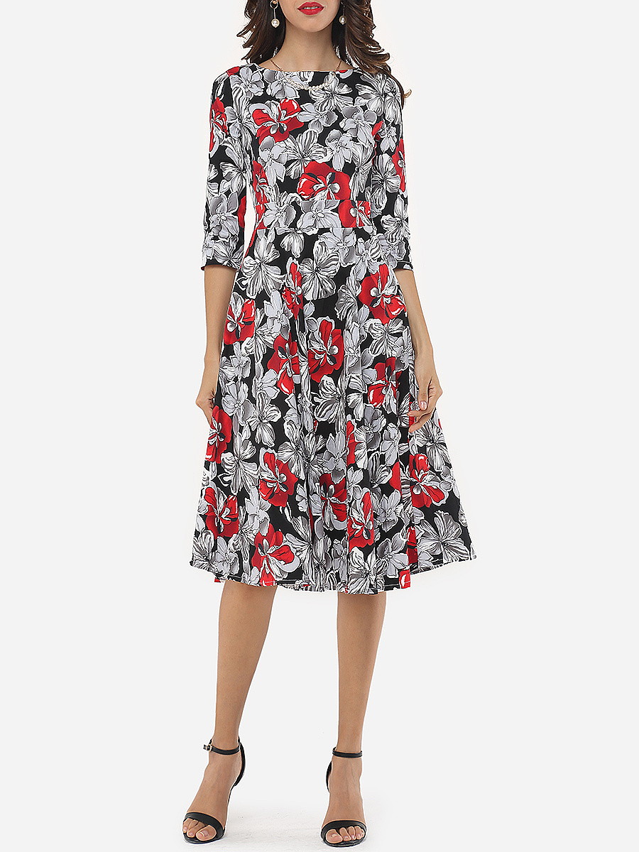 Printed Captivating Round Neck Skater-dress