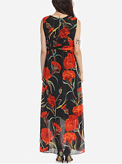 V Neck Chiffon Floral Printed Maxi Dress