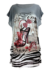 Spring Summer  Cotton  Women  Round Neck  Floral Printed High-Heeled Shoes Short Sleeve T-Shirts