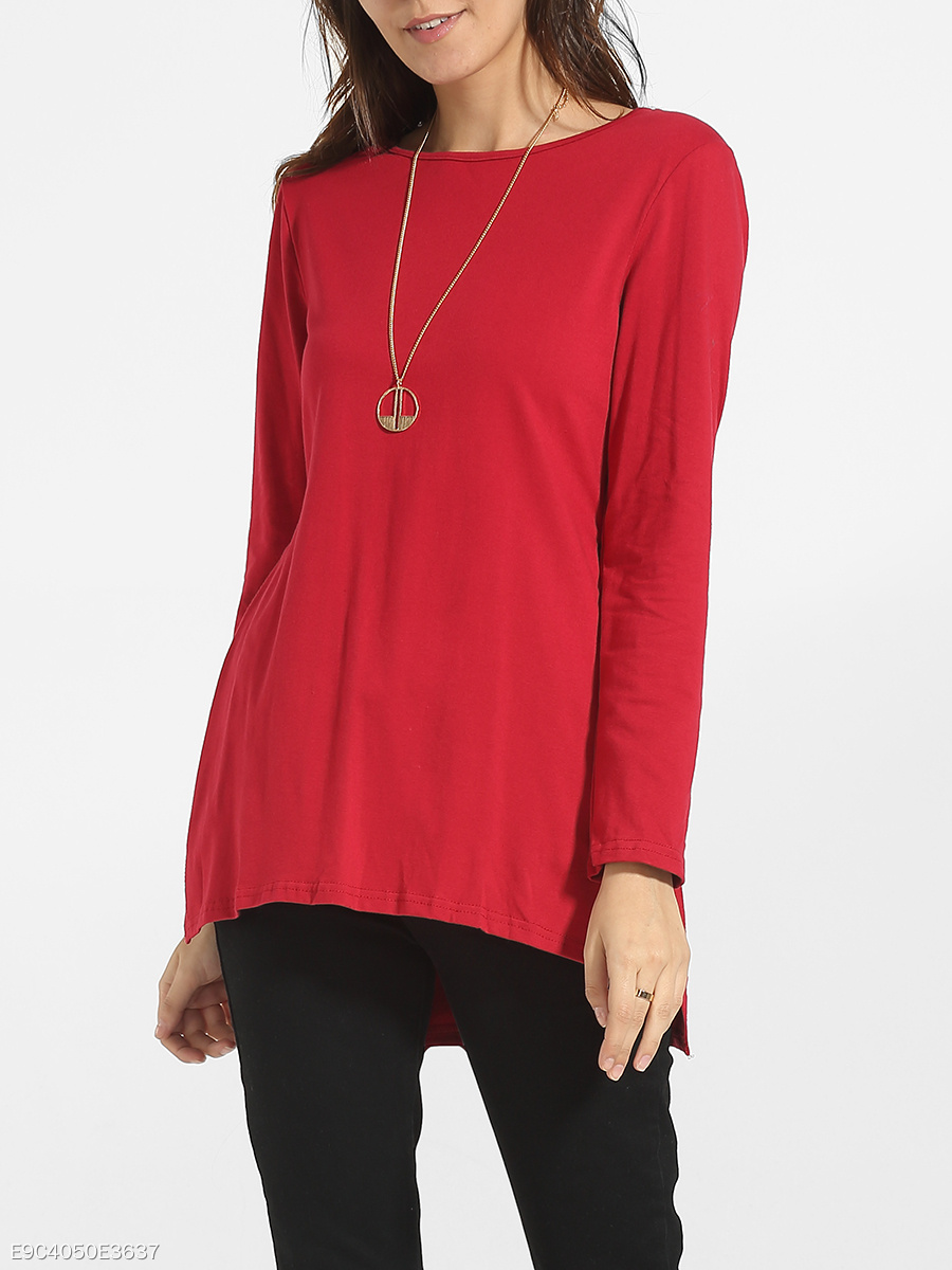 Asymmetrical Hems Round Neck Cotton Side Slit Long-sleeve-t-shirt