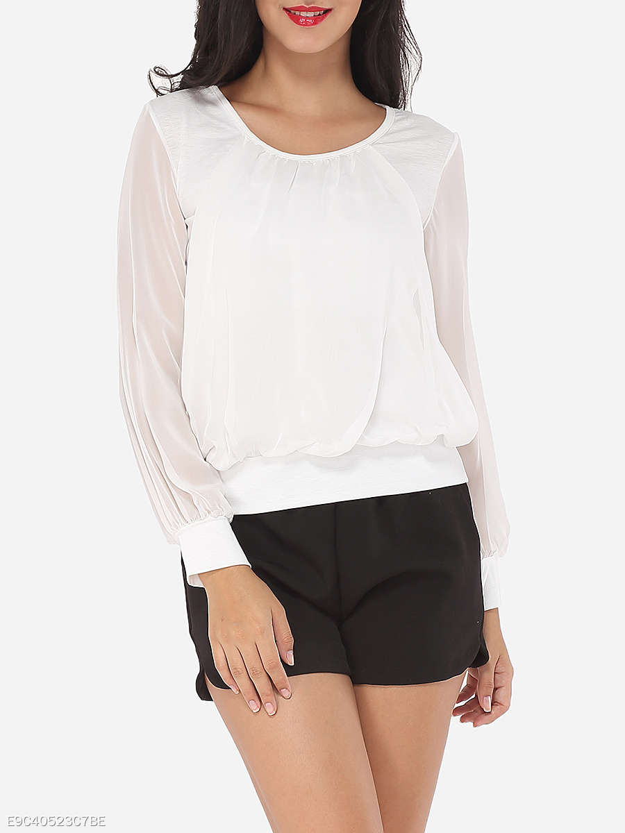 Plain Loose Fitting Sensual Round Neck Blouse
