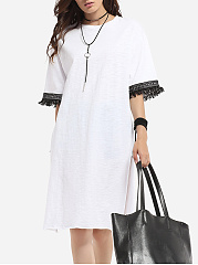 Tassel Round Neck Cotton Letter Longline Tees Split Long-sleeve-t-shirt