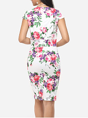 Floral Printed Delightful Sweet Heart Bodycon-dress